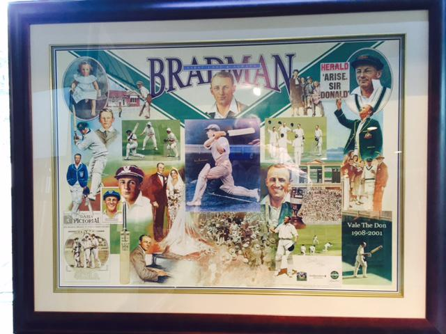 Sir Donald Bradman Signed photograph montage